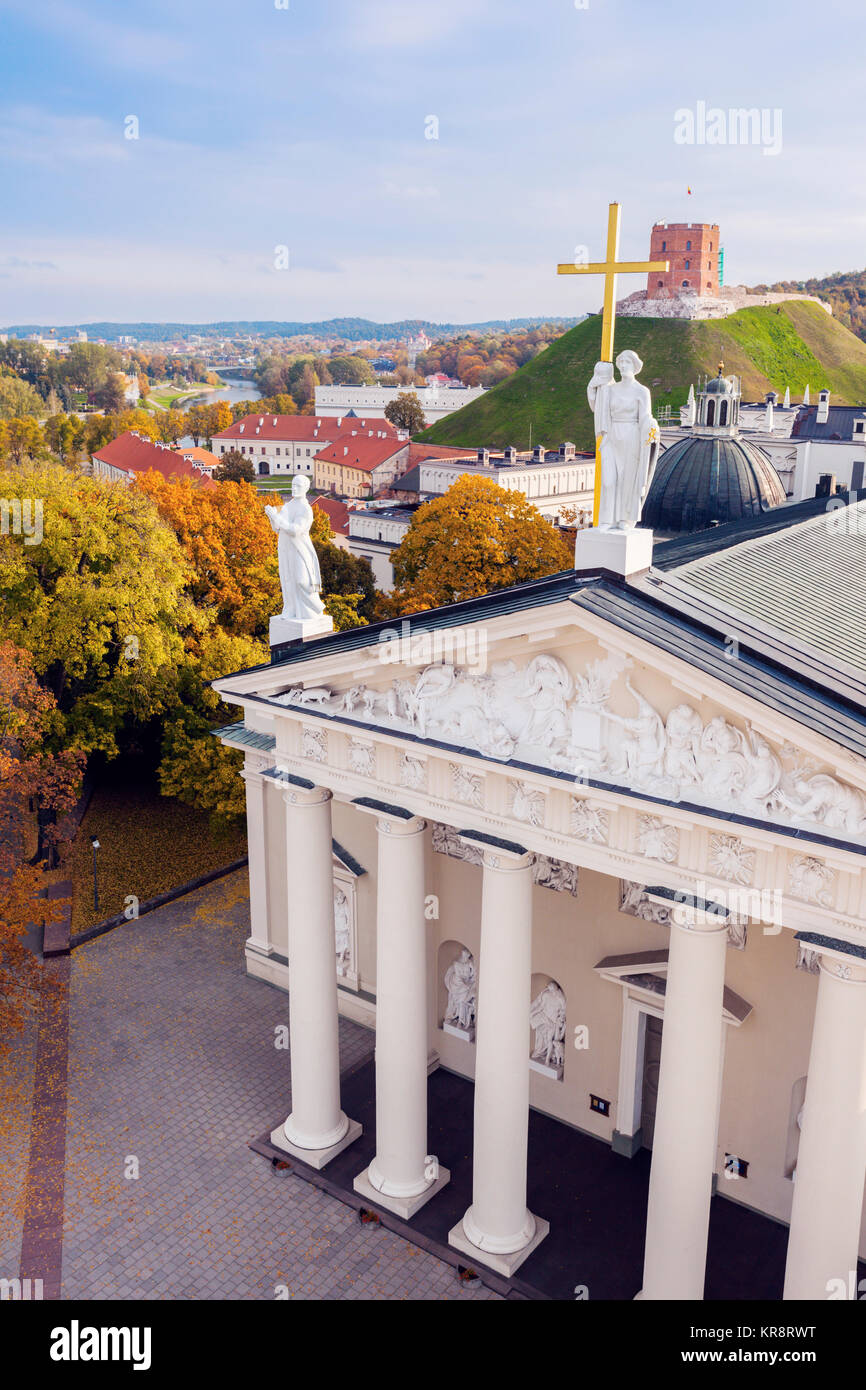 Lithuania, Vilnius, Vilnius cathedral and cityscape in background - Stock Image