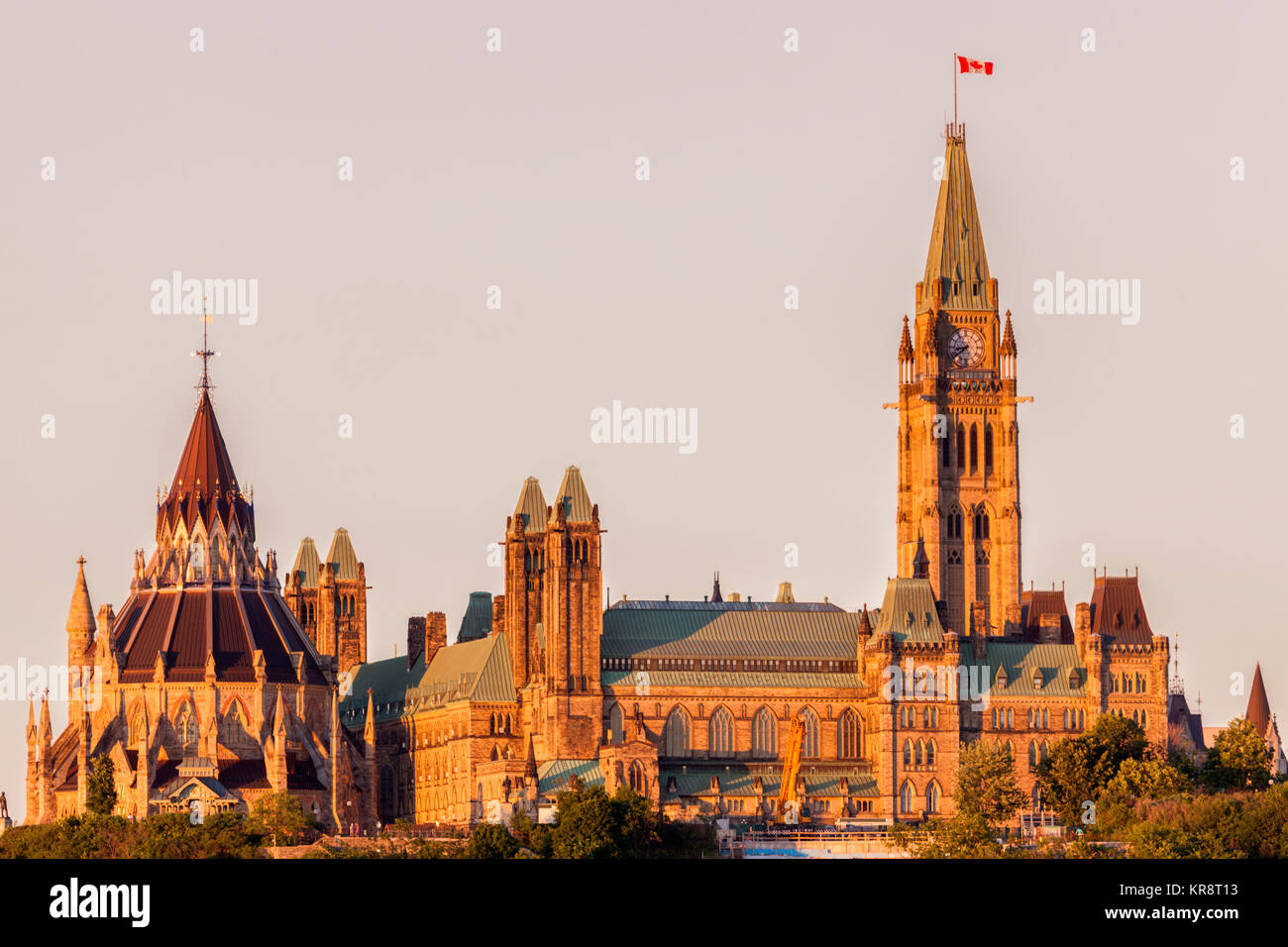 Canada, Ontario, Ottawa, Overcast sky over Parliament Hill - Stock Image