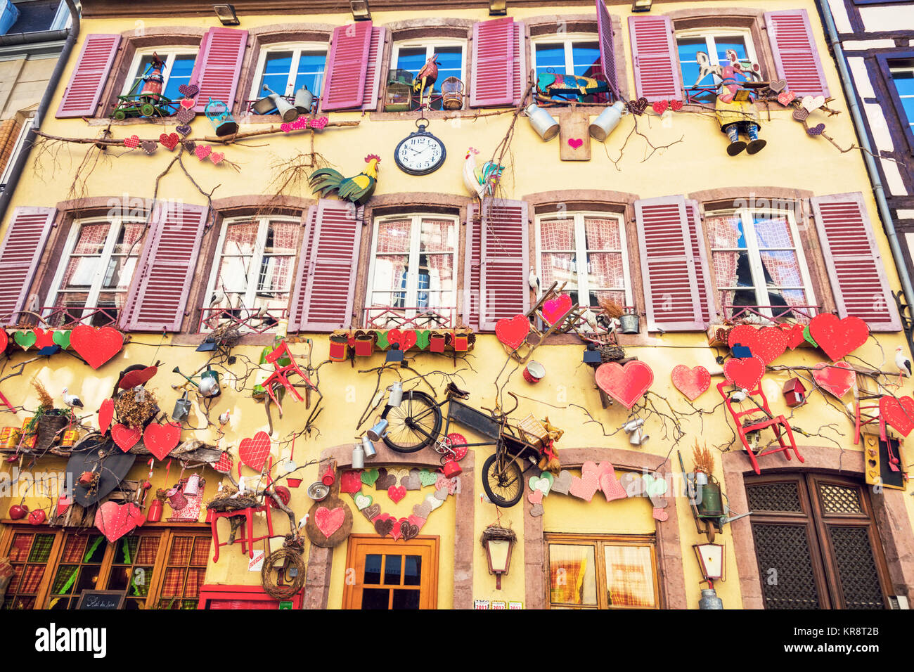 France, Grand Est, Colmar, Facade of traditional townhouse - Stock Image