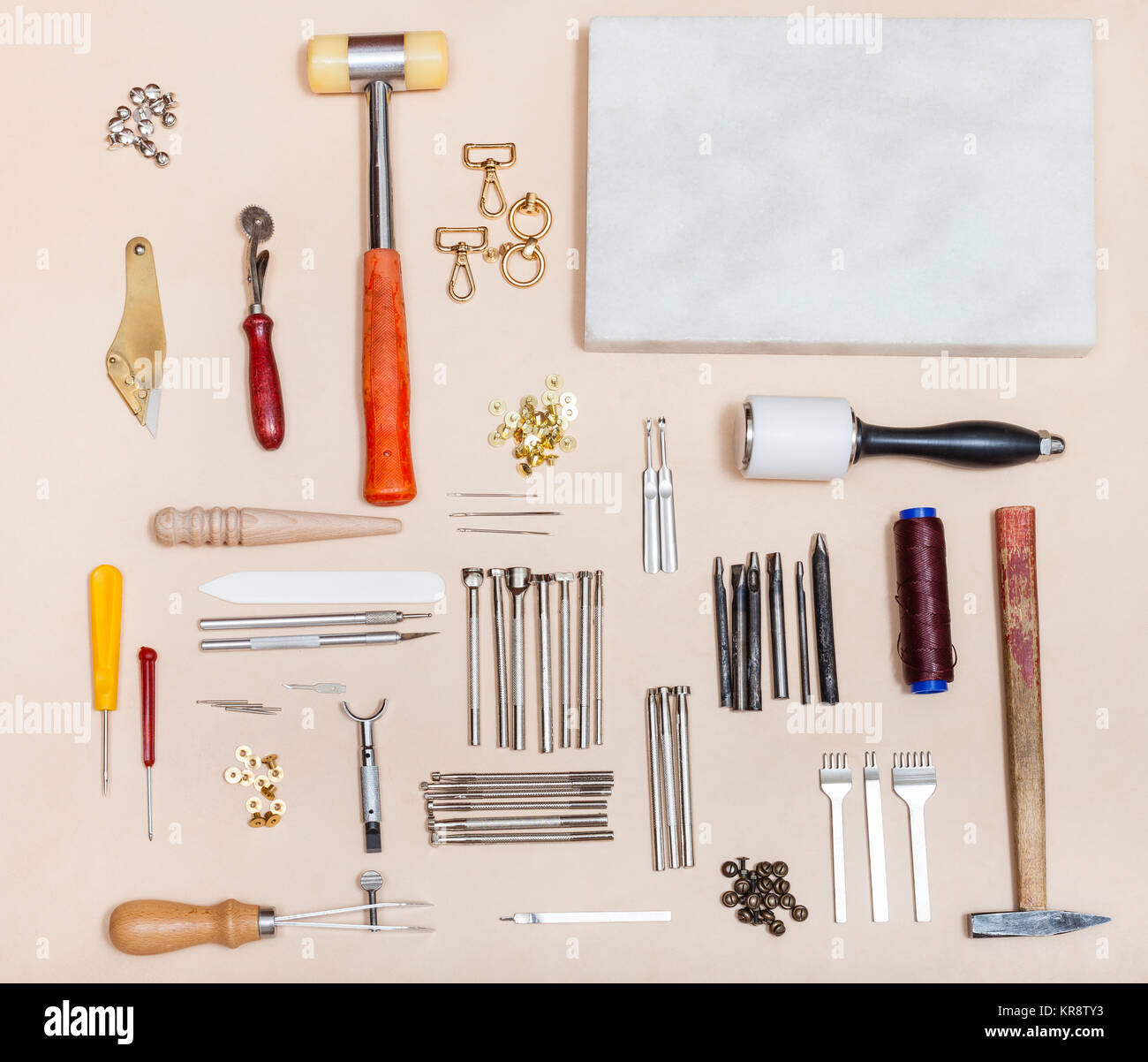 above view set of various leathercraft instruments - Stock Image