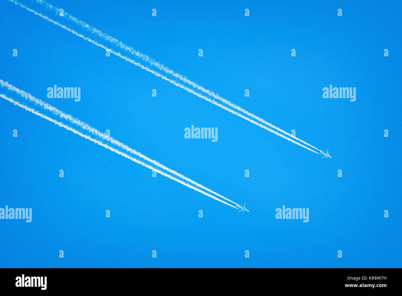 Two Airplanes in the Sky - Stock Image