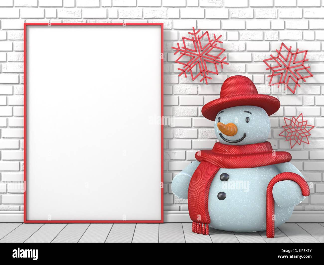 Mock up blank picture frame, Snowman and red popsicle sticks Stock ...