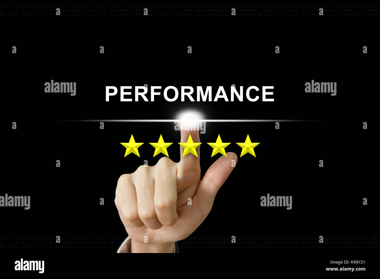 business hand pushing performance on screen - Stock Image