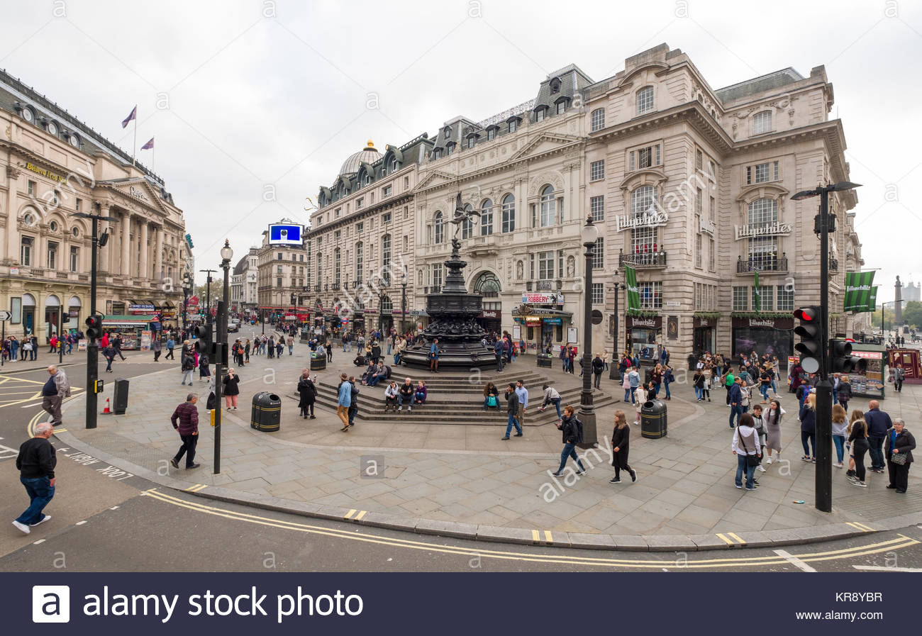 Shaftesbury Memorial Fountain is the centerpiece of Piccadilly Circus public space, City of Westminster, London, - Stock Image