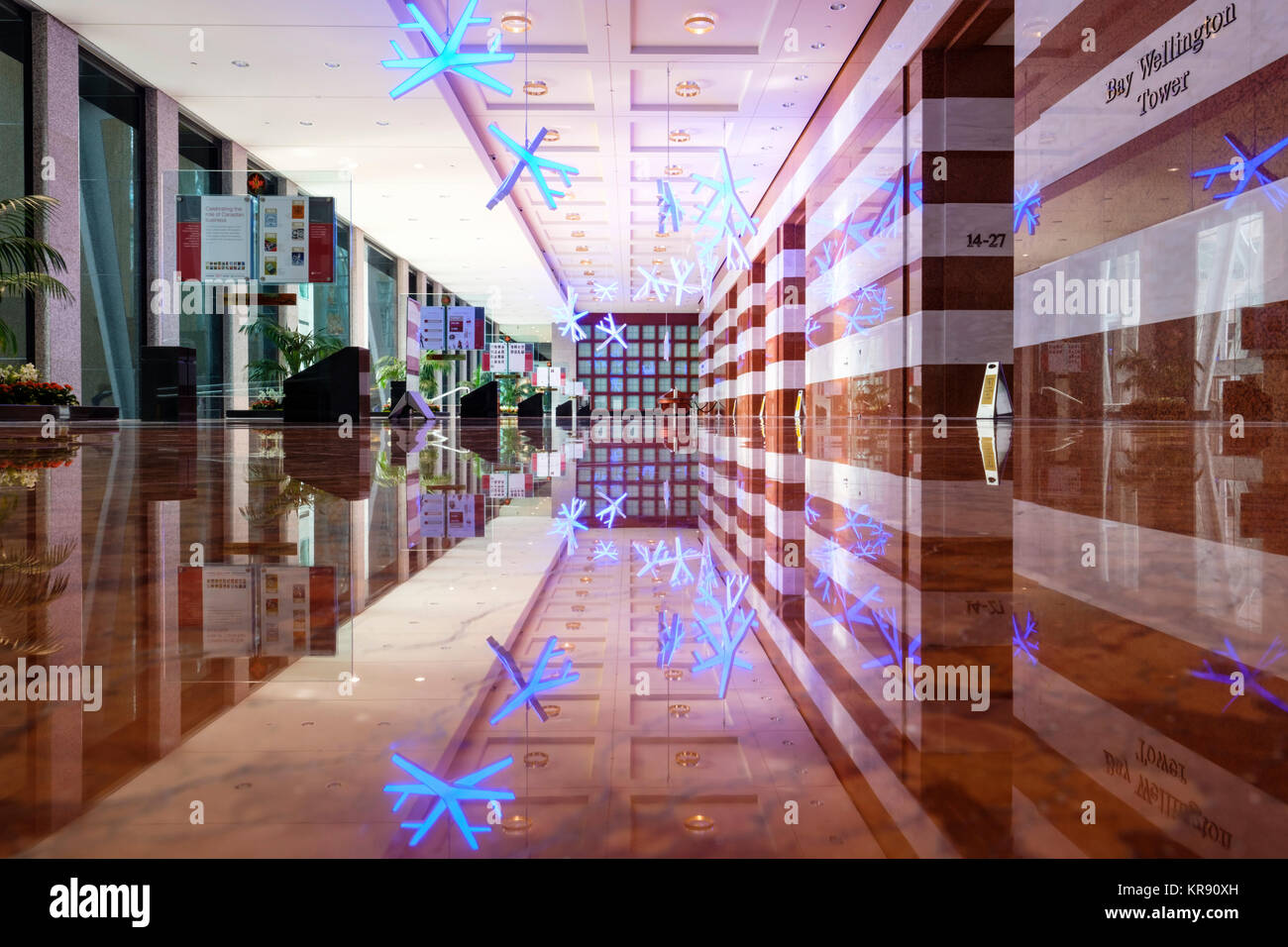 Bay Wellington Tower, TD Canada Trust lobby, Brookfield Place (formerly BCE Place), Allen Lambert Galleria, downtown - Stock Image