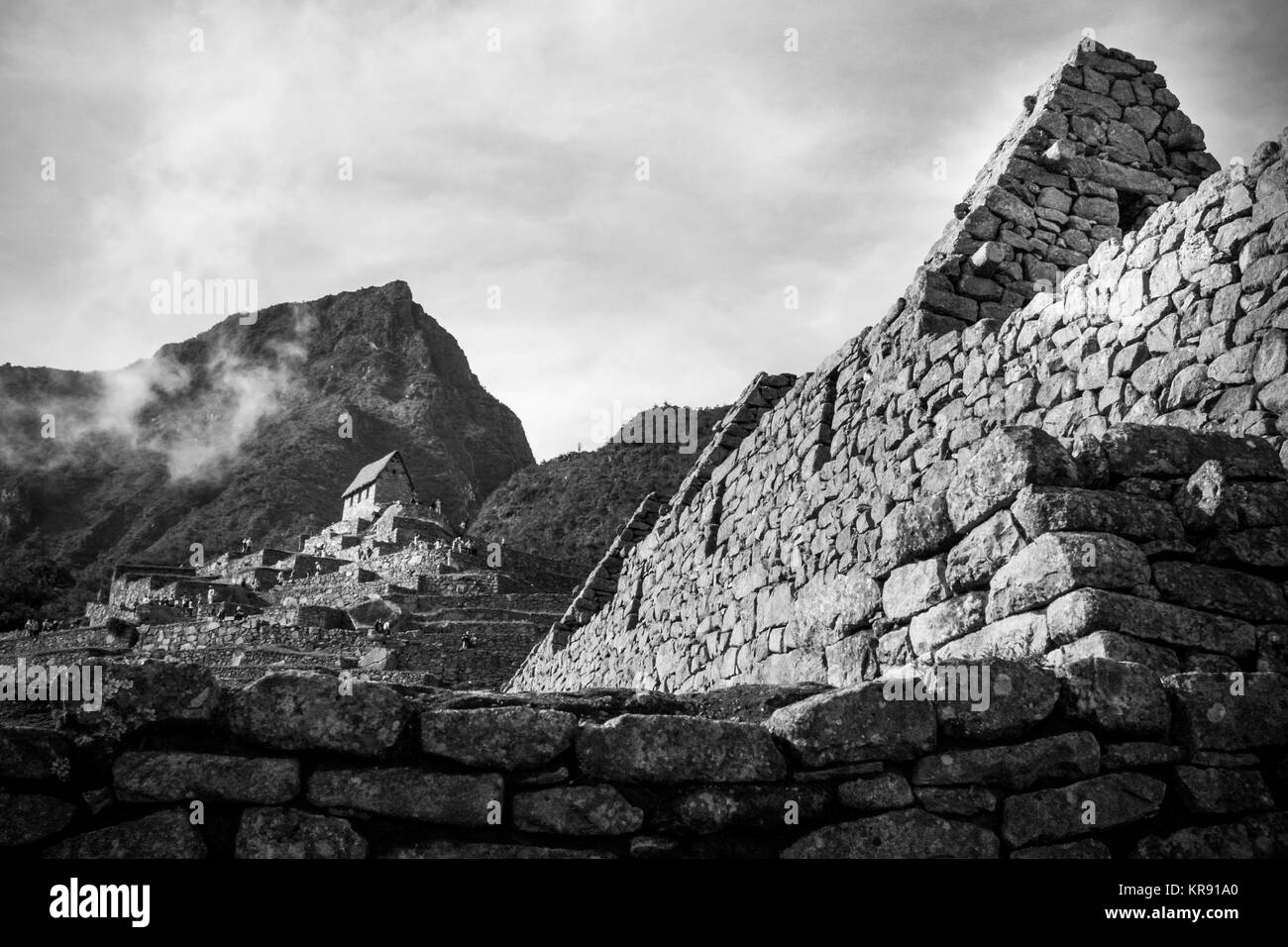Guardian's house in black and white in Machu Picchu, Cuzco, Peru - Stock Image