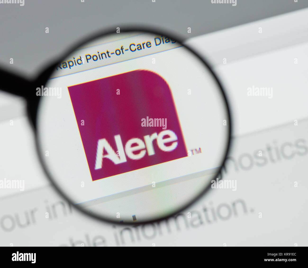 Milan, Italy - August 10, 2017: Alere website homepage  It