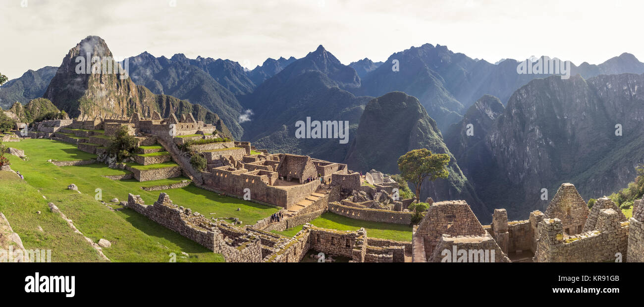 Panoramic of Machu Picchu ruins in Cuzco, Peru - Stock Image