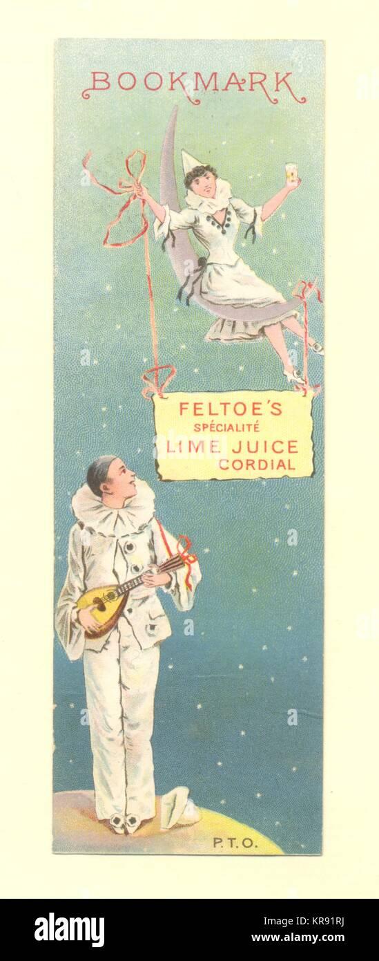 Bookmark advertising Feltoe's Lime Juice Cordial - Stock Image