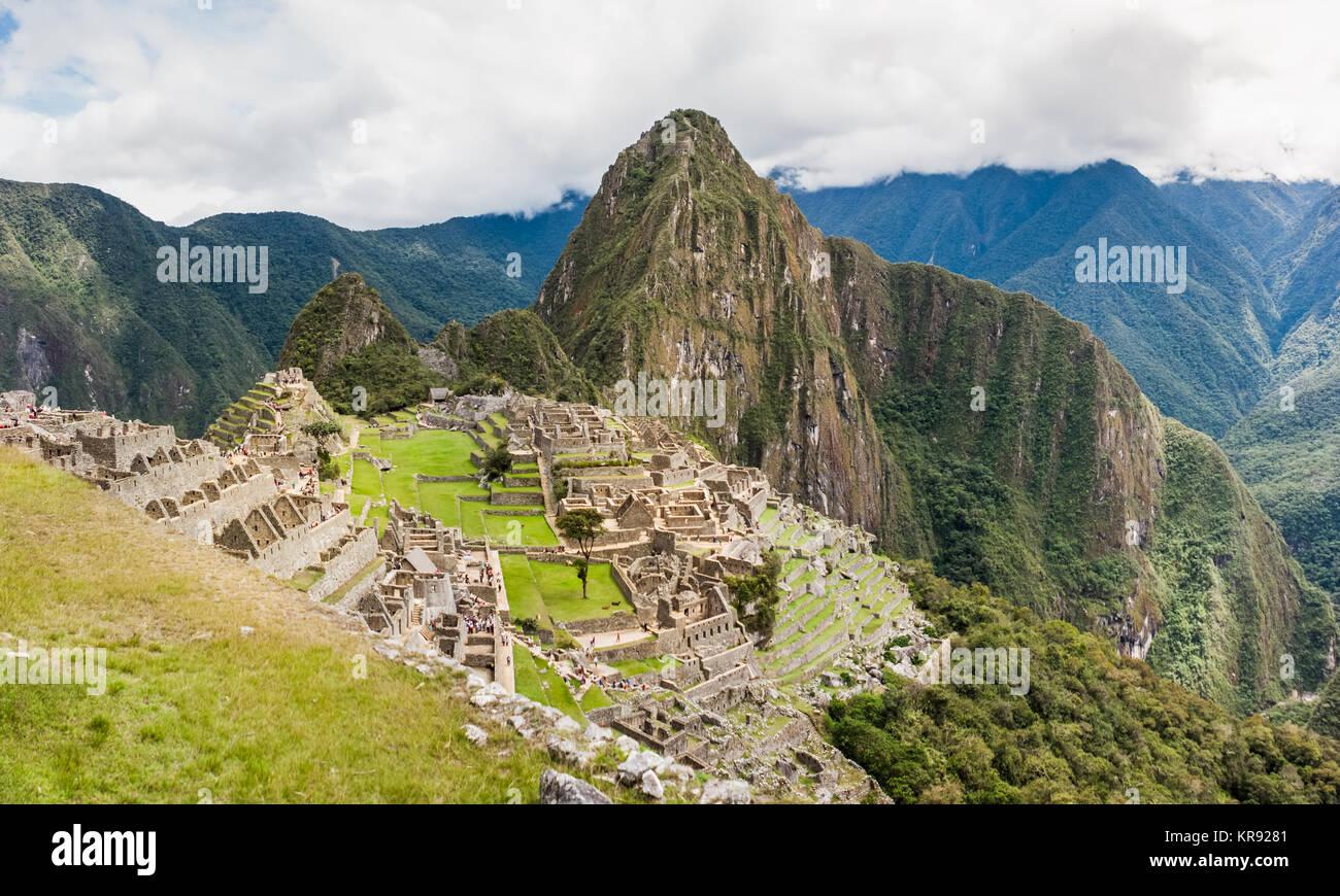 Panoramic of Machu Picchu ruins in Cuzco, Peru - Stock Image