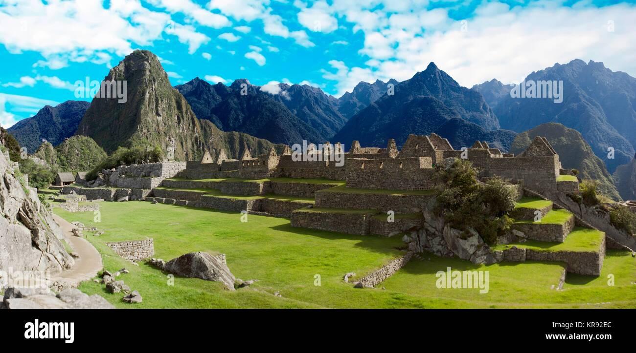 Panoramic of Machu Picchu ruins in Cuzco, Peru Stock Photo