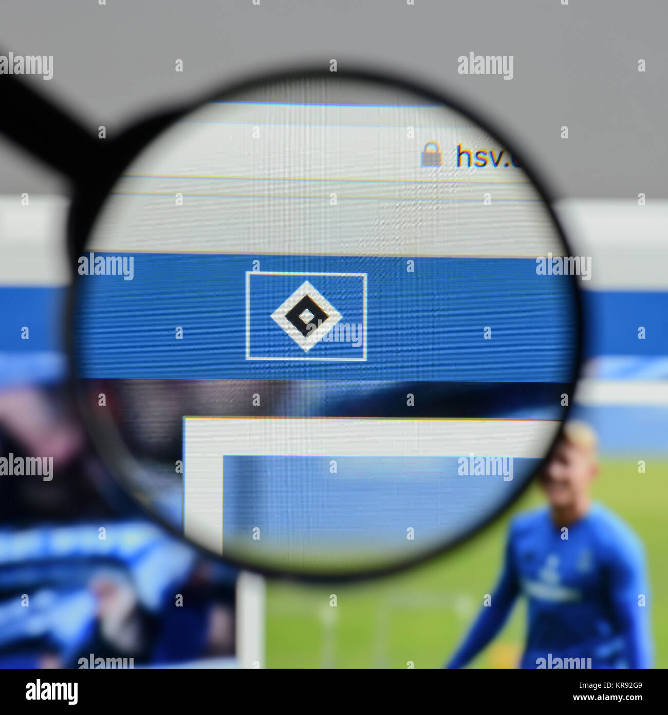 Milan, Italy - August 10, 2017: Hamburger SV website homepage. It is a German sport club based in Hamburg. HSV logo - Stock Image