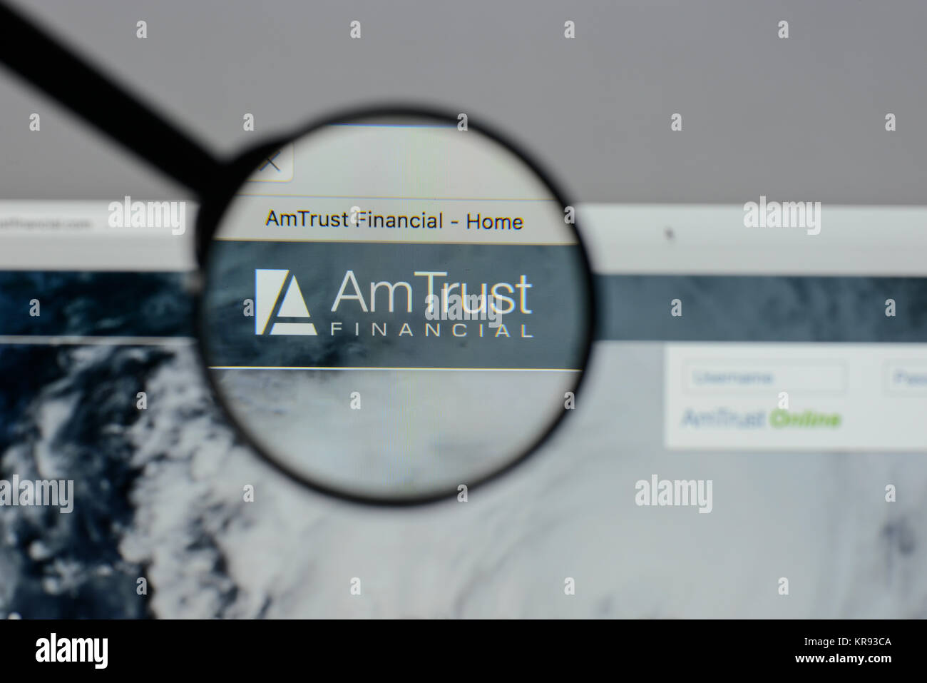 Milan, Italy - August 10, 2017: Am Trust Financial Services website homepage. It is a New York City-based multinational - Stock Image