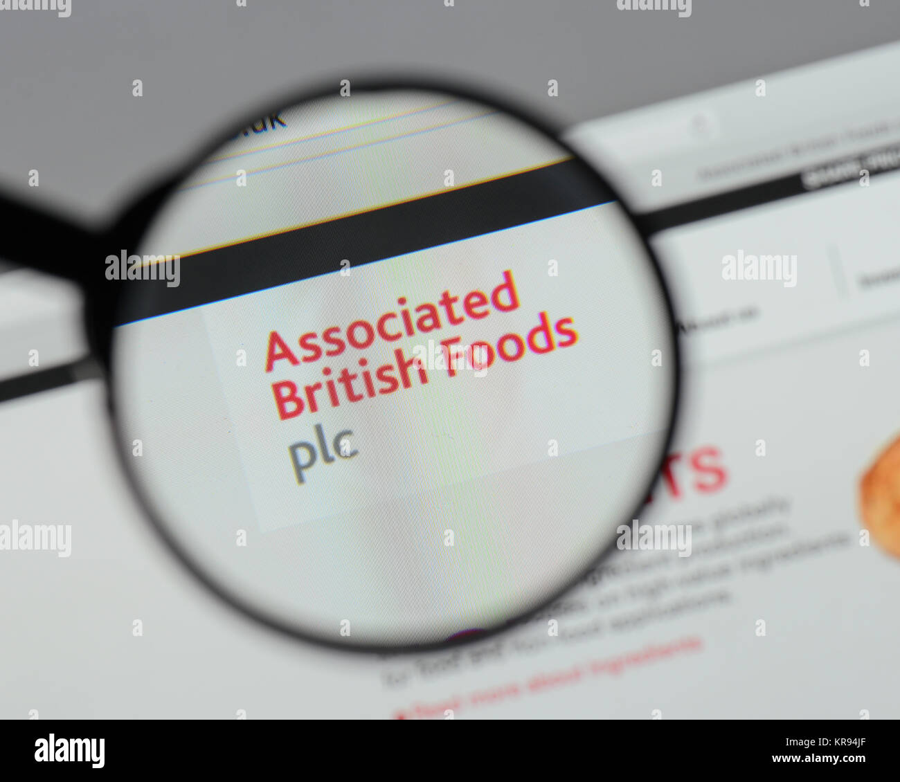Milan, Italy - August 10, 2017: Associated British Foods  logo on the website homepage. - Stock Image