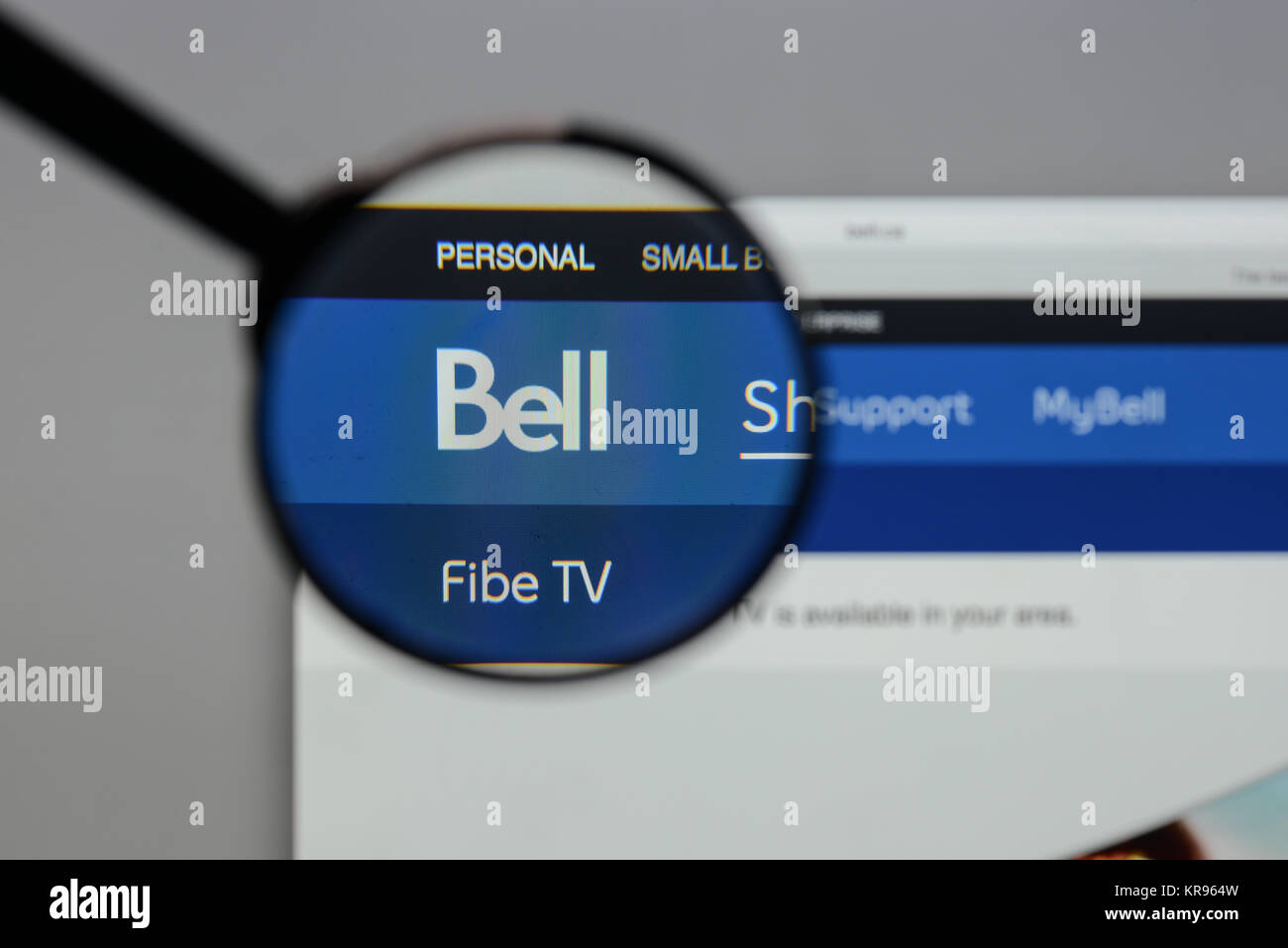 Bell Logo Stock Photos Images Alamy Fibe Tv Wiring Diagram Milan Italy August 10 2017 On The Website Homepage