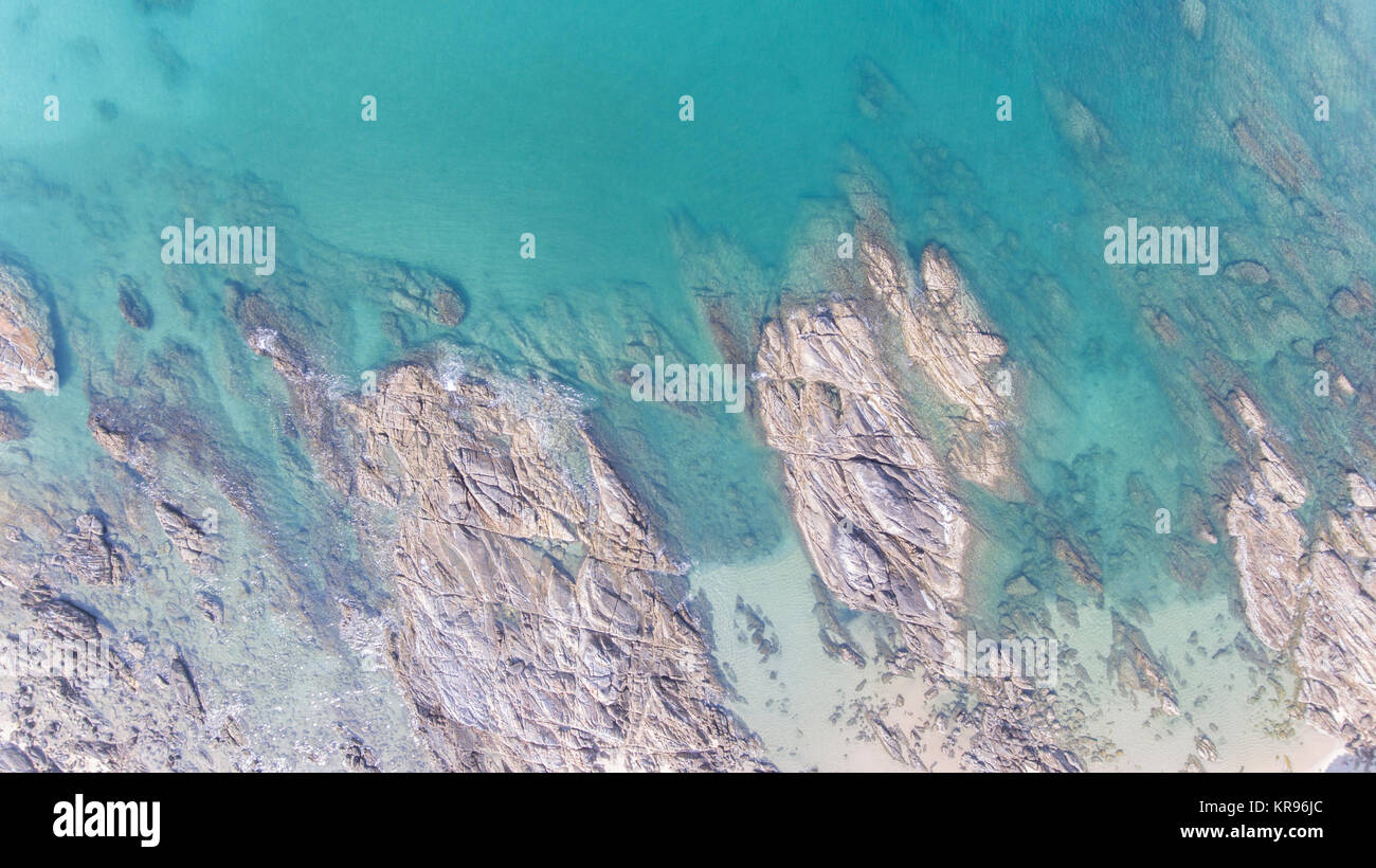 Aerial view of stone rock - Stock Image