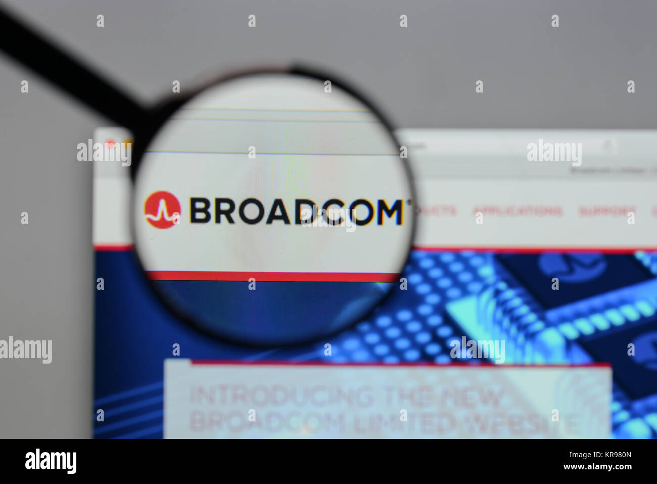 Milan, Italy - August 10, 2017: Broadcom logo on the website