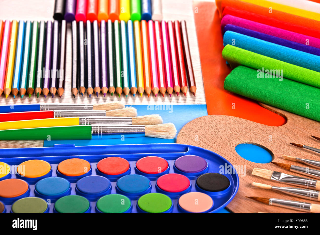 Composition with school accessories for painting and drawing - Stock Image