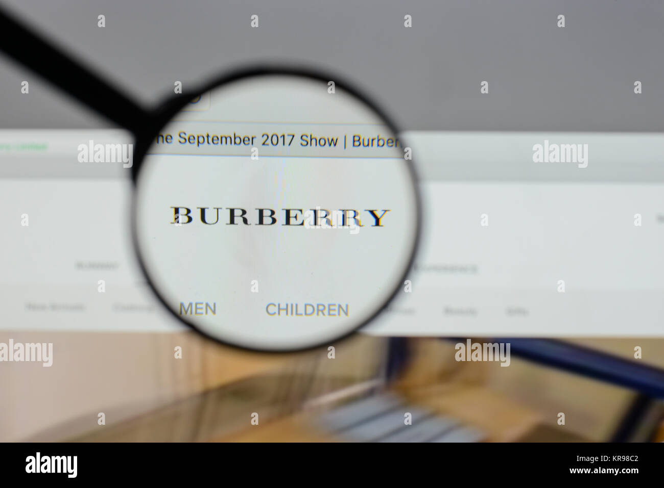 e4931fa254 Milan, Italy - August 10, 2017: Burberry logo on the website homepage.
