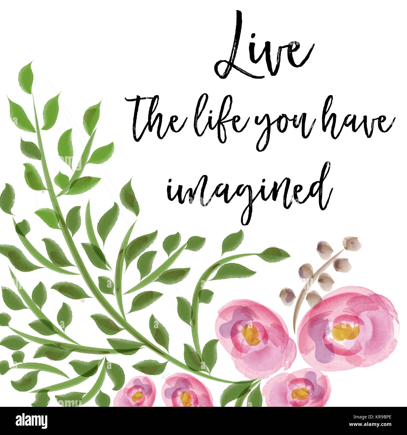 Beautiful Life Quote With Floral Watercolor Background Stock Photo Alamy