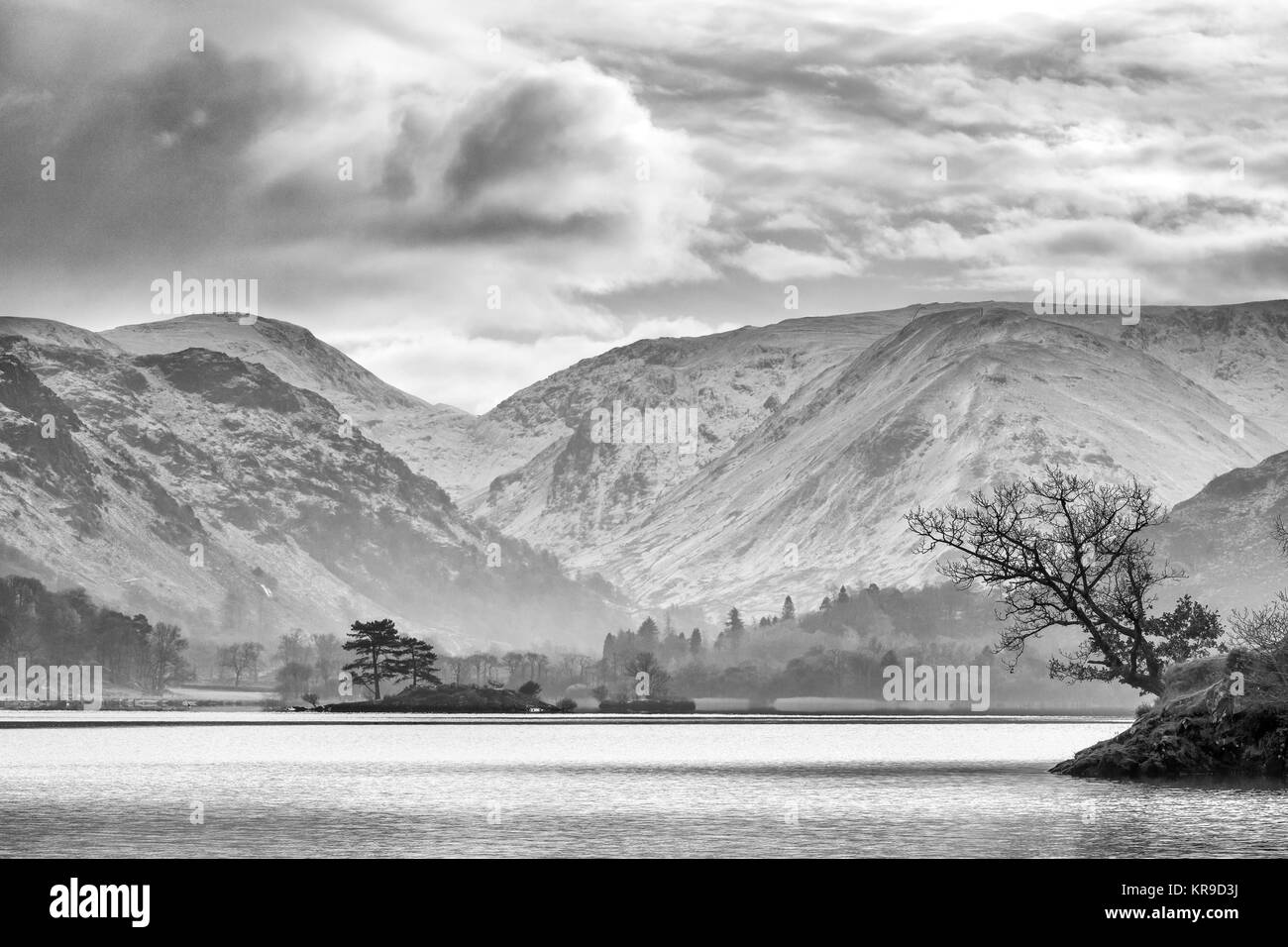 Black white ullswater the english lake district uk