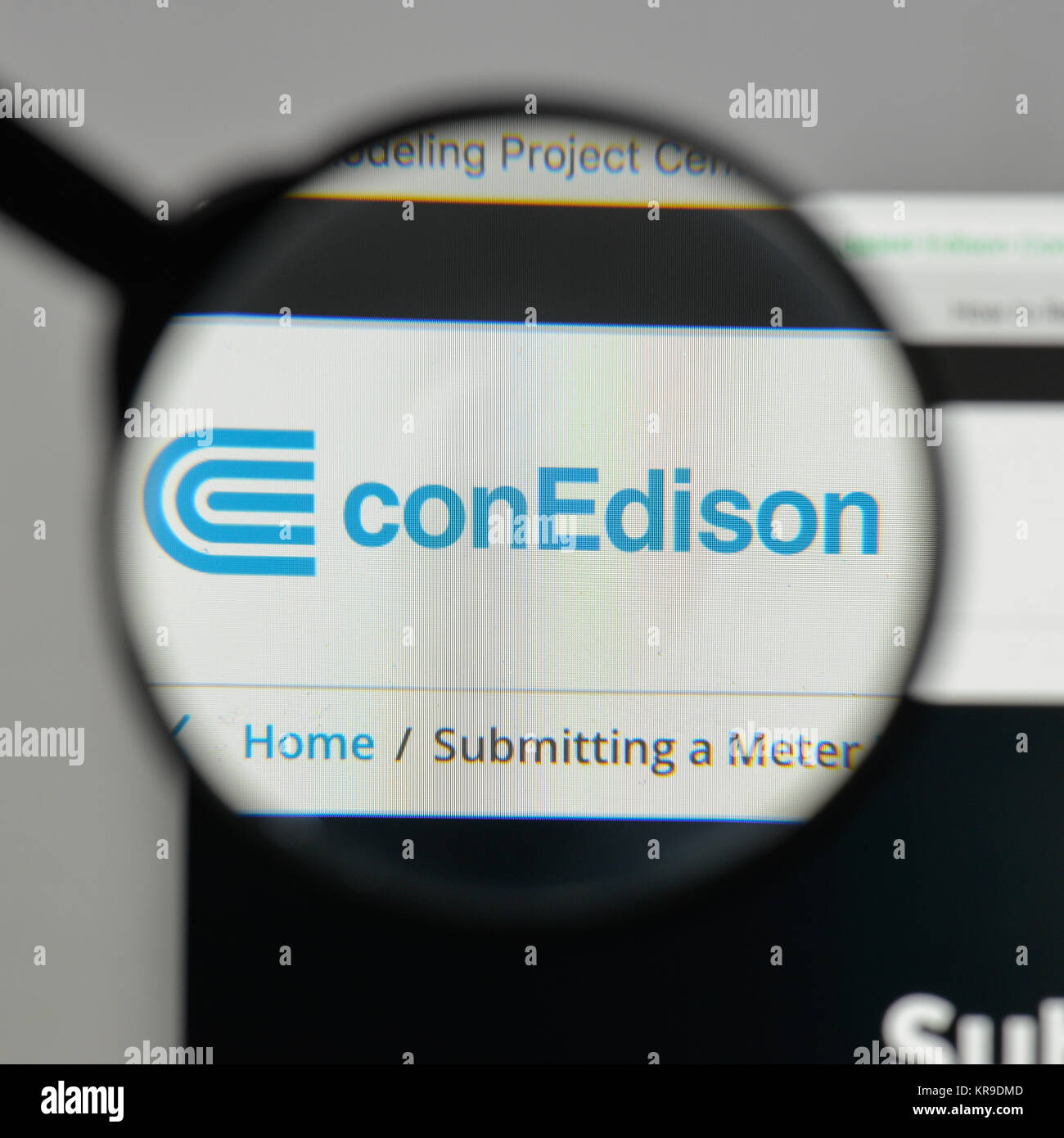 Milan, Italy - August 10, 2017: Consolidated Edison logo on the website homepage. - Stock Image