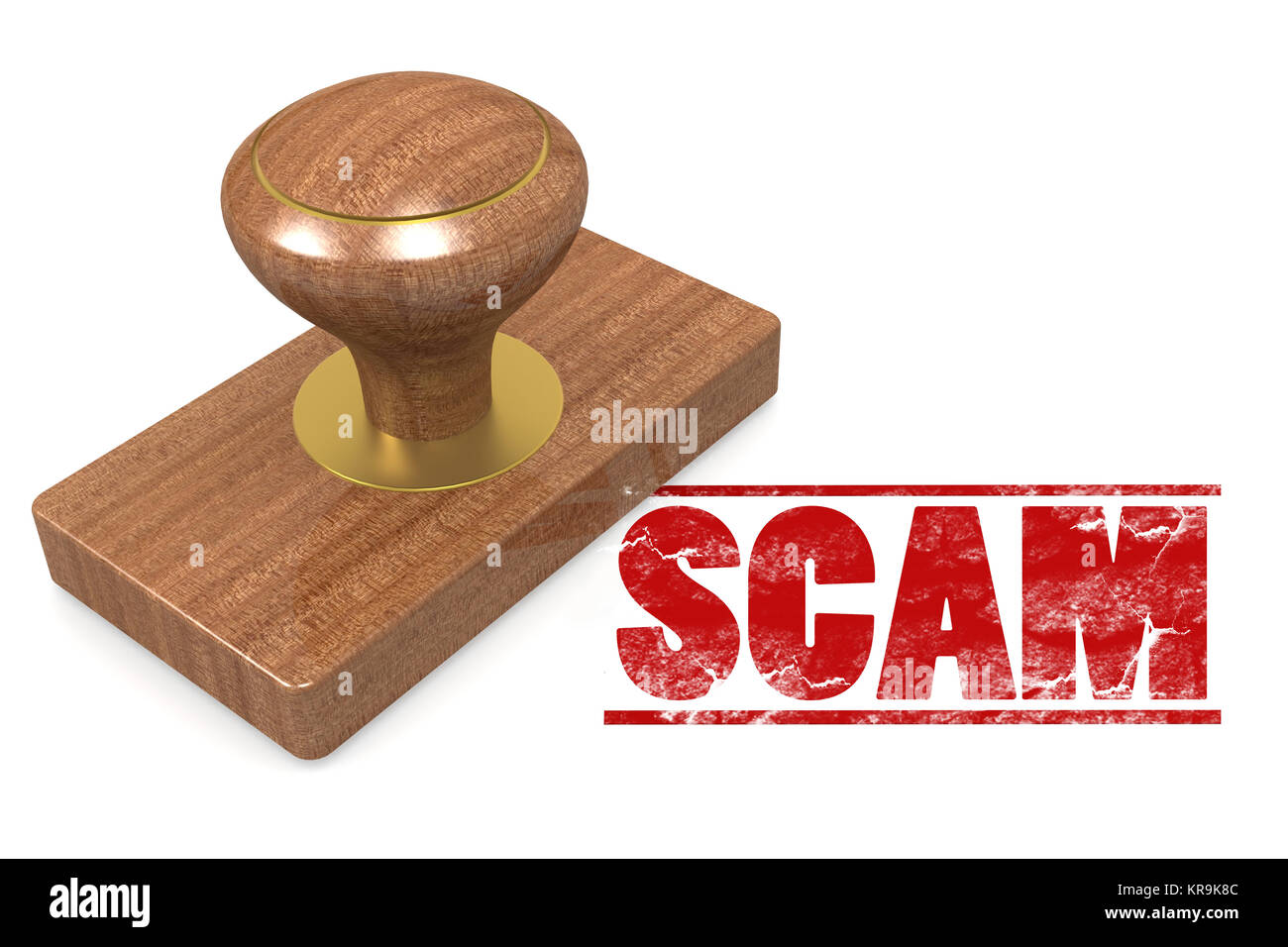 Scam wooded seal stamp - Stock Image