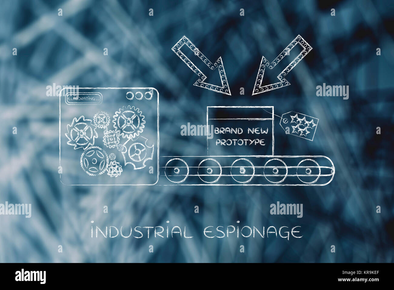 confidential prototype on production line, concept of trade secrets - Stock Image