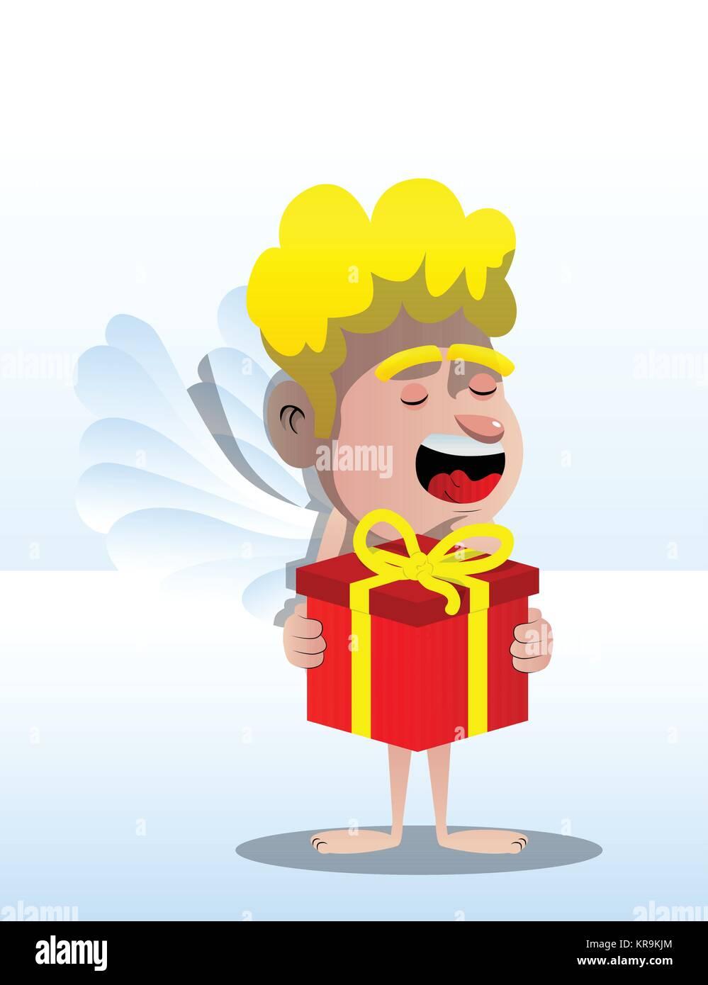 Cupid holding big gift box. Vector cartoon character illustration. - Stock Image