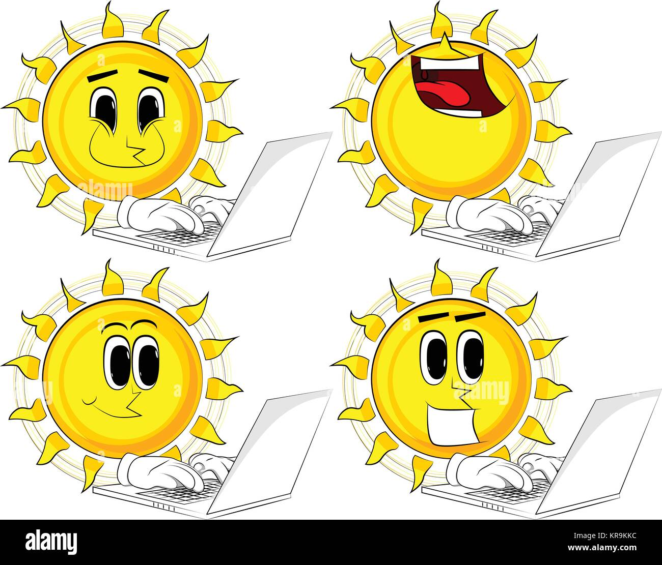 Cartoon sun working with laptop. Collection with happy faces. Expressions vector set. - Stock Vector