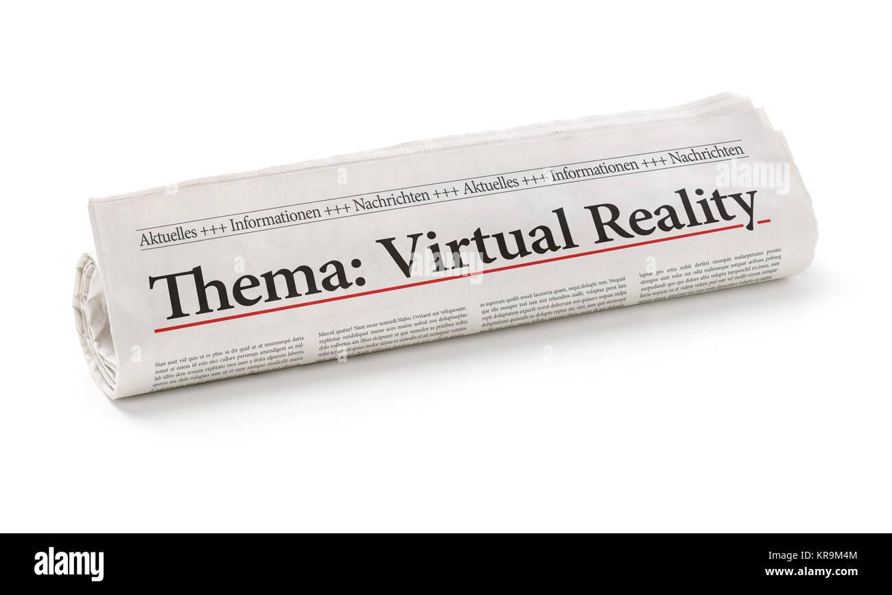 Zeitungsrolle mit der Überschrift Virtual Reality Stock Photo
