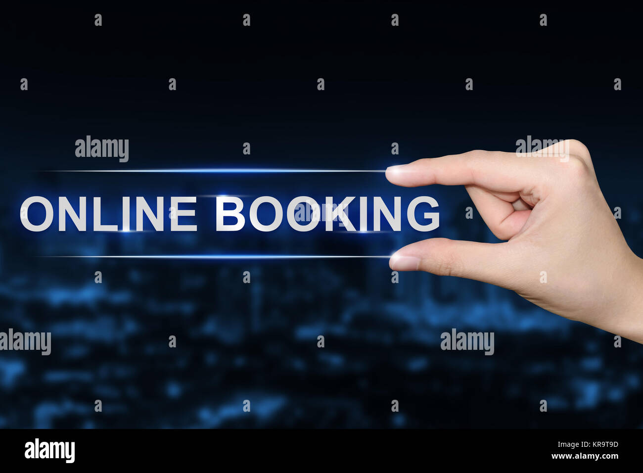 hand clicking online booking button - Stock Image