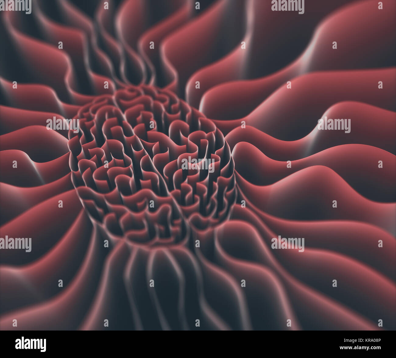 3D illustration. Walls shaped like a brain in a maze with no way out. - Stock Image