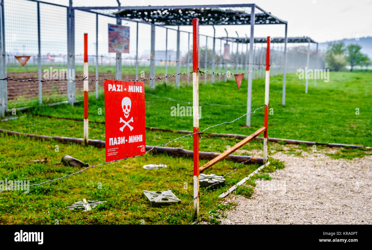 Old mine field sign as a leftover from the siege in Sarajevo, Bosnia - Stock Image