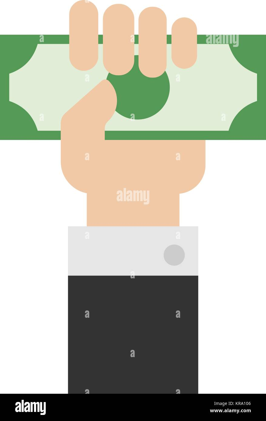 Hand holding money or money in hand vector. Hand with money or hand giving money in flat style. - Stock Vector
