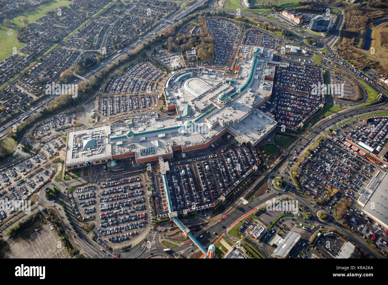 An aerial view of the Trafford Centre, and out of town shopping centre in Manchester - Stock Image