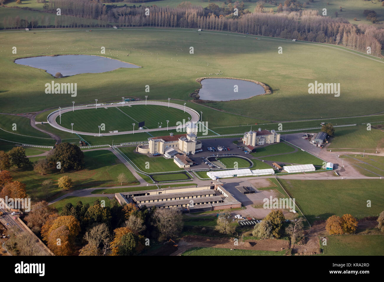 An aerial view of Towcester Racecourse, Northamptonshire - Stock Image