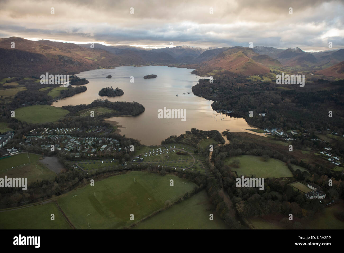 An aerial view of Derwentwater near Keswick early on a winter morning - Stock Image
