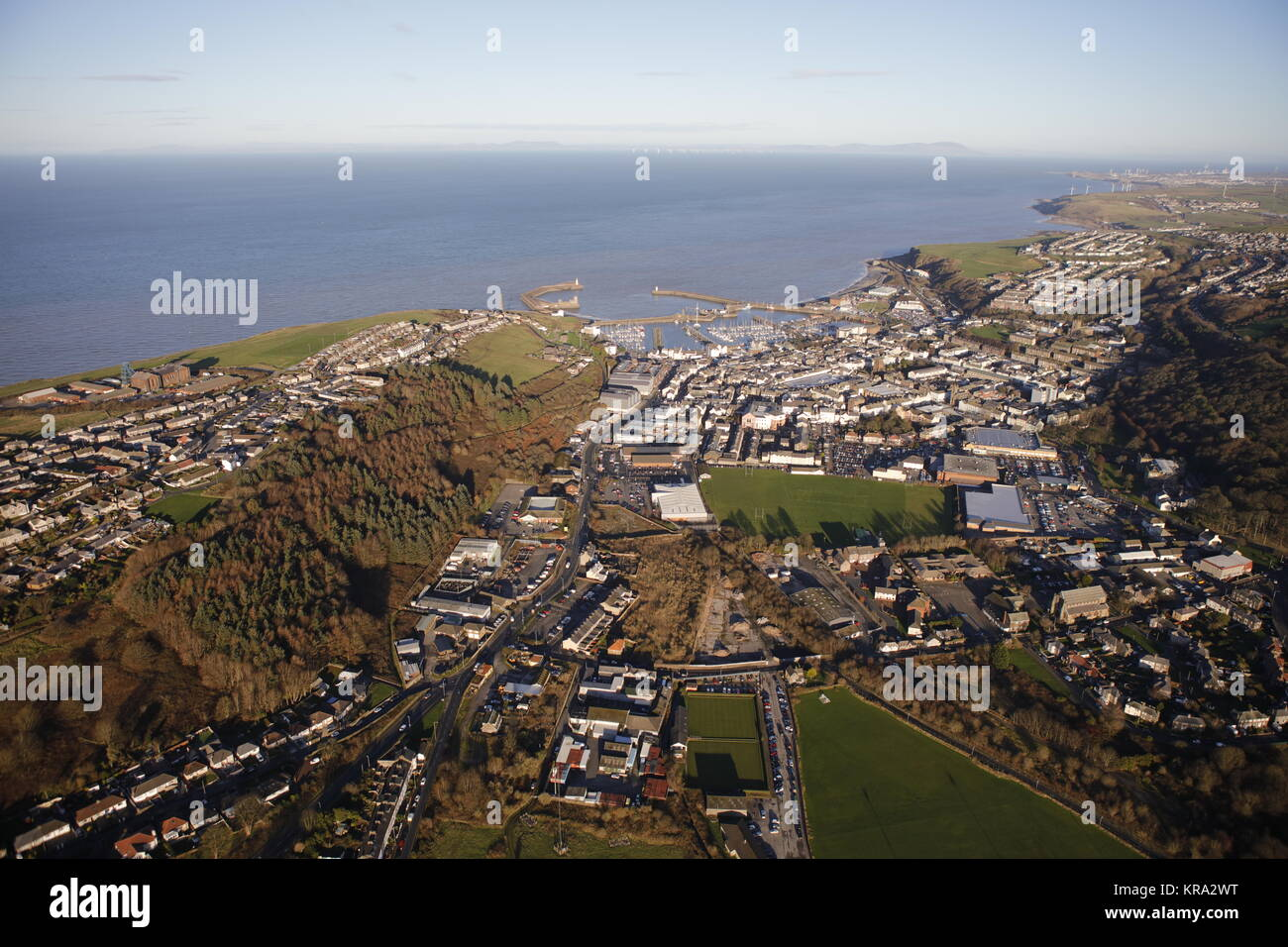 An aerial view of the town of Whitehaven on the coast of Cumbria - Stock Image