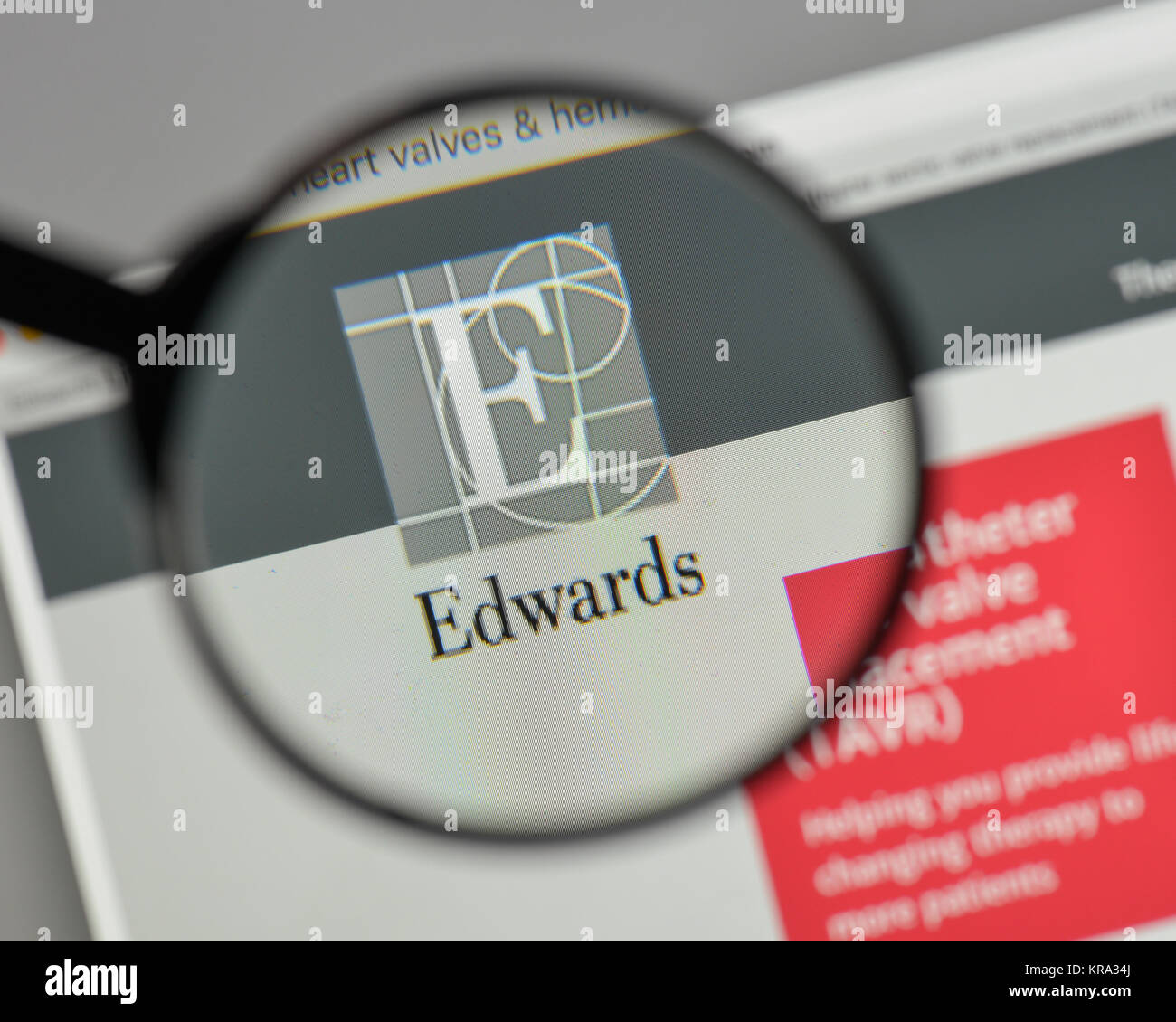 Milan, Italy - August 10, 2017: Edwards Life sciences logo on the website homepage. Stock Photo