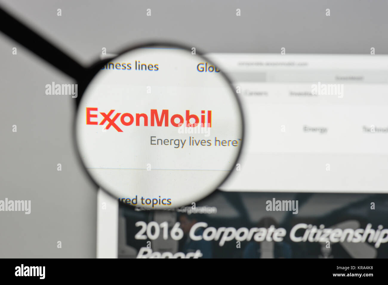 Milan, Italy - August 10, 2017: Exxon logo on the website homepage. - Stock Image