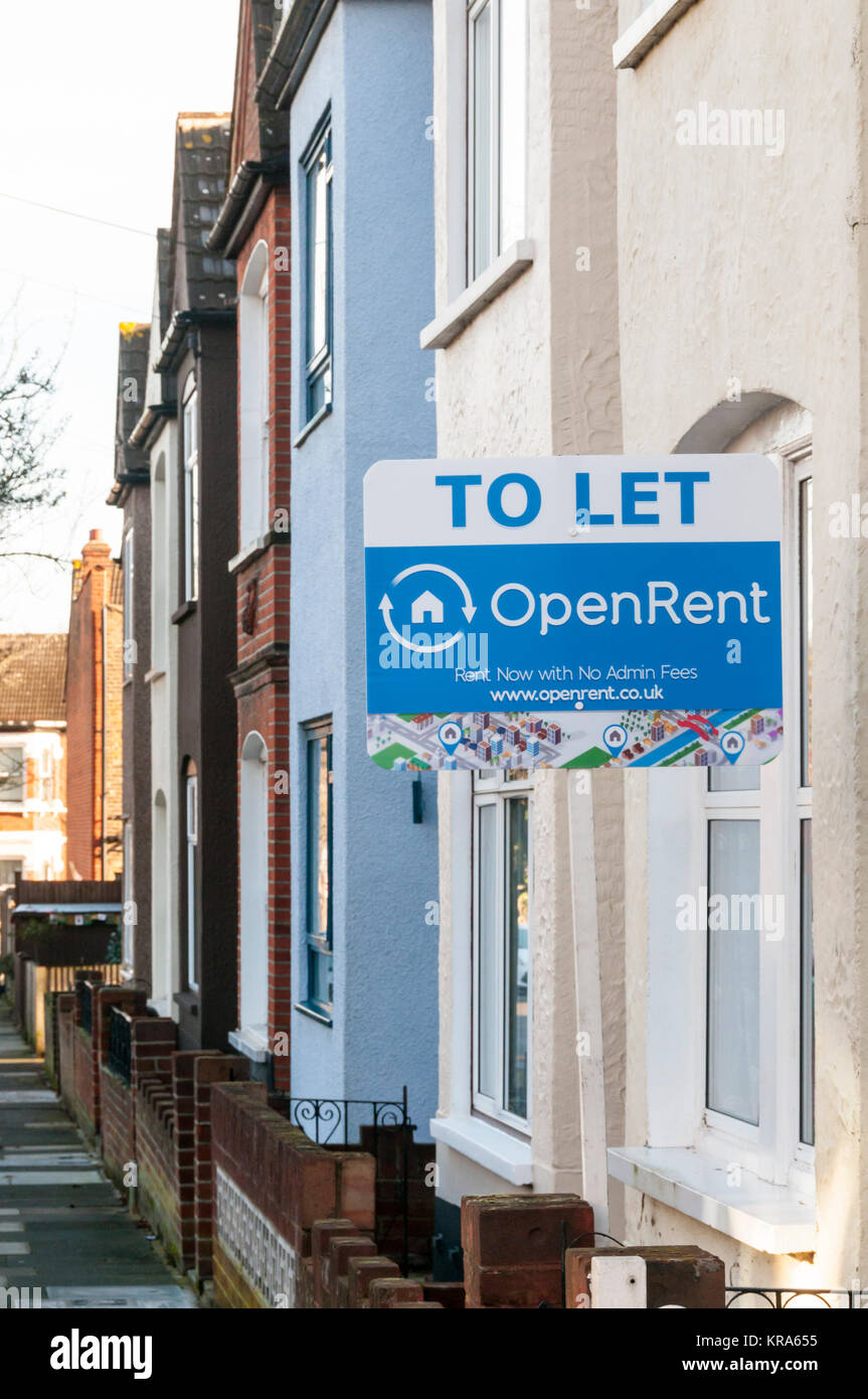 Agents To Let board on a house to let through the online letting agency OpenRent in Bromley, South London. - Stock Image