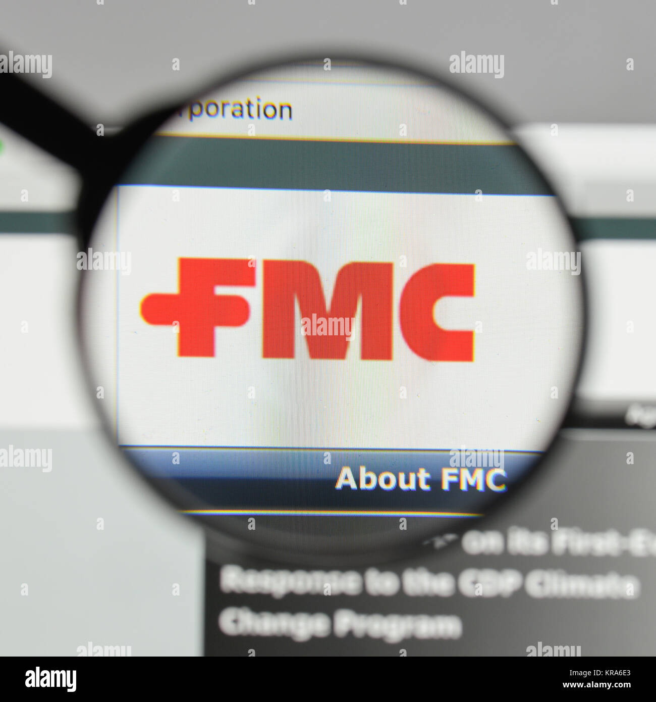 Milan, Italy - August 10, 2017: FMC logo on the website homepage. - Stock Image