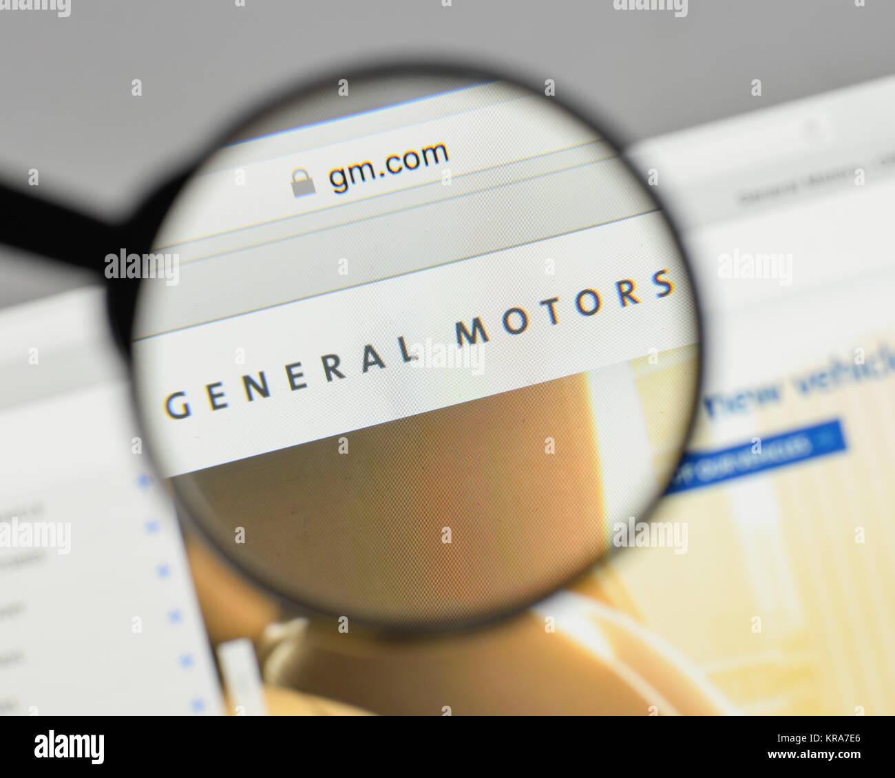 Milan, Italy - August 10, 2017: General Motors logo on the website homepage. - Stock Image