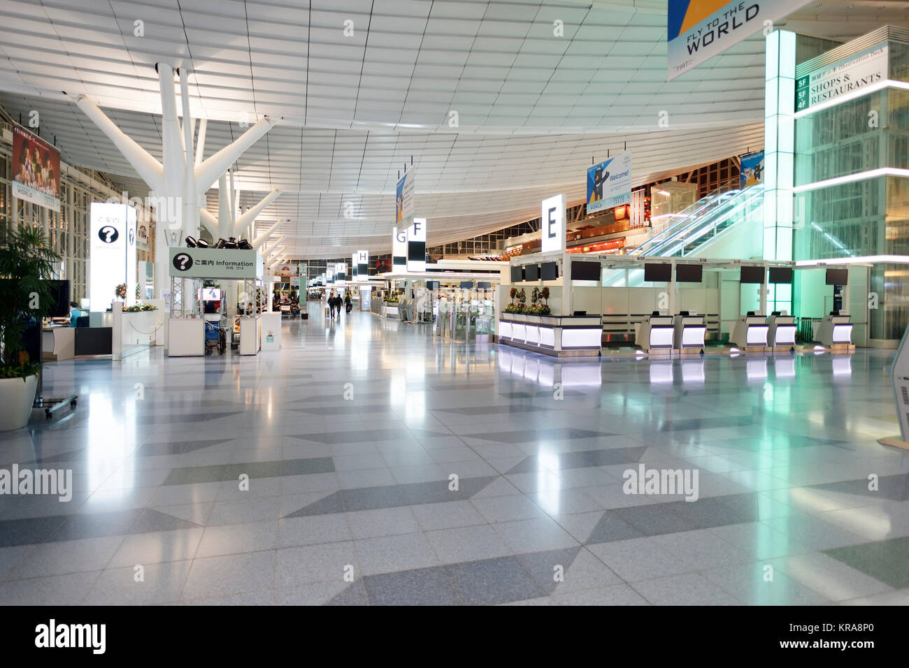 Tokyo Haneda International Airport terminal lobby bright and spacious interior. Haneda, Tokyo, Japan 2017. - Stock Image