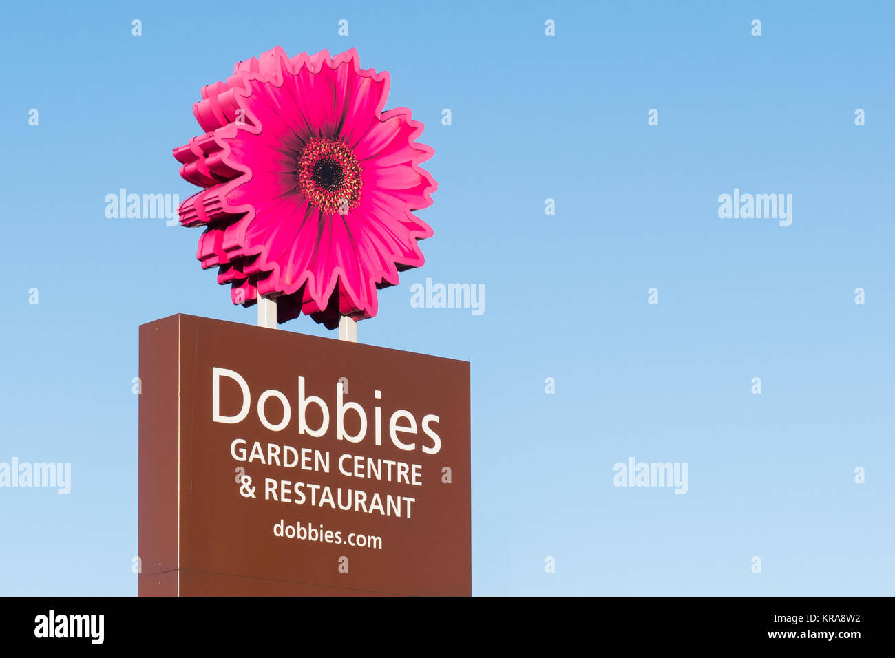 Dobbies Garden Centre and Restaurant sign and logo, Braehead, Glasgow, Scotland, UK - Stock Image