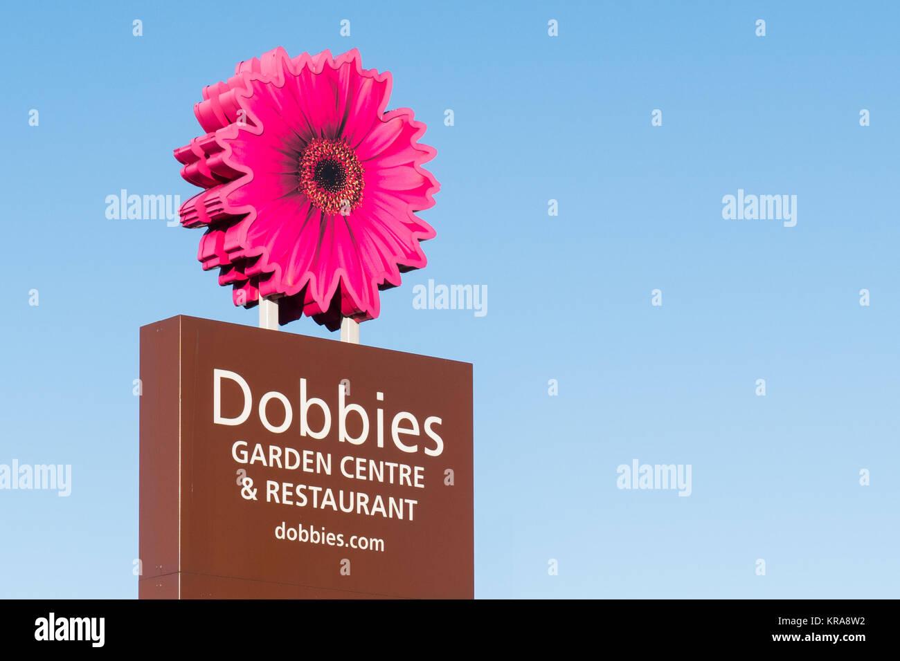 Dobbies Garden Centre and Restaurant sign and logo, Braehead, Glasgow, Scotland, UK - Stock Image