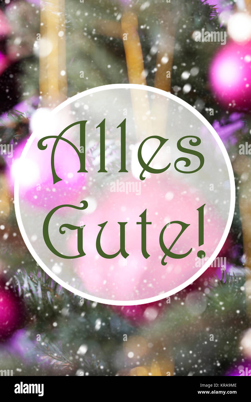 German Text Alles Gute Means Best Wishes Vertical Christmas Tree