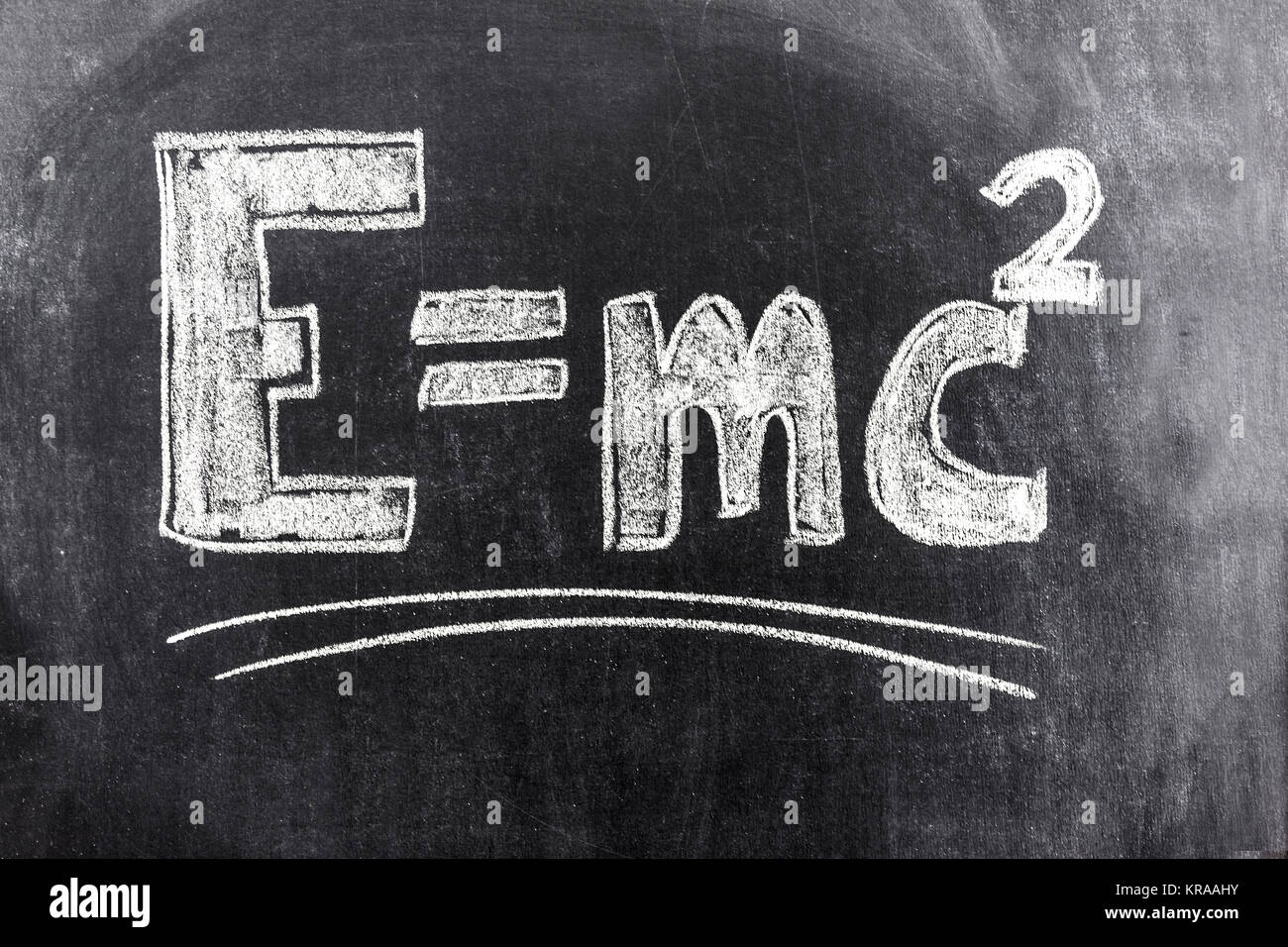 Einstein's formula of relativity theory - Stock Image