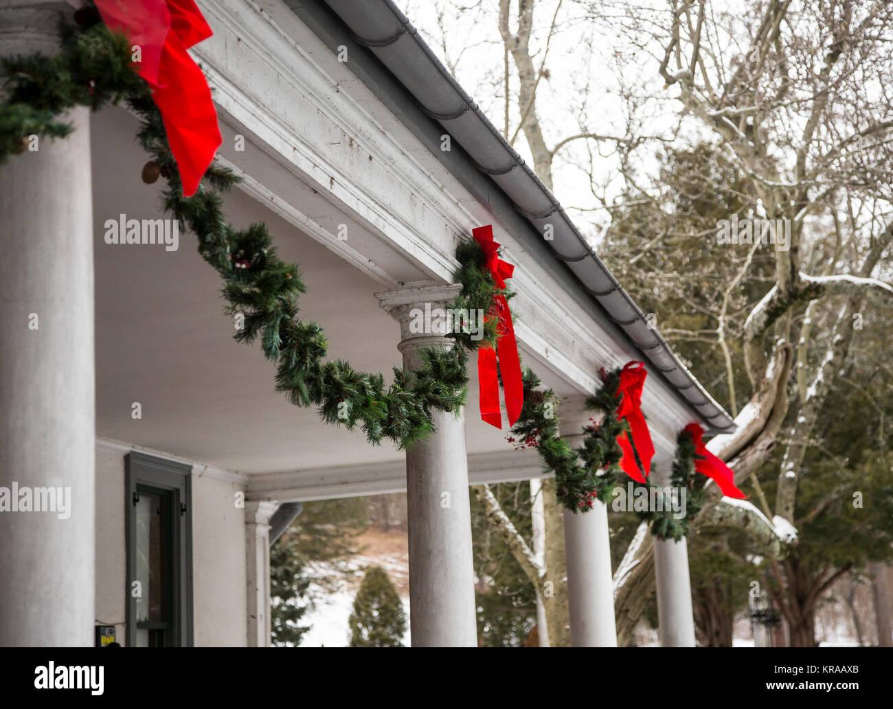 Christmas garland at the Ringwood Manor in Ringwood, NJ - Stock Image